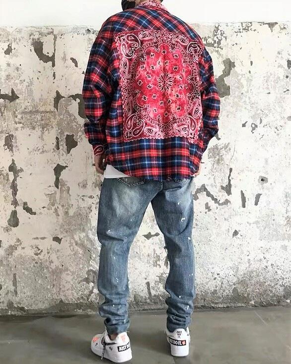 《2色》パッチタイダイバンダナチェックシャツの画像2